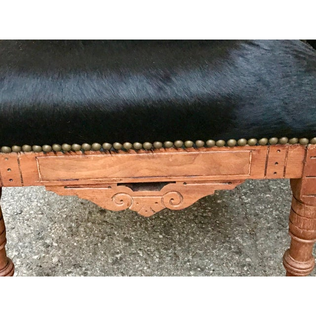 Ebony Antique Throne Chairs Reupholstered With Black Hair on Hide - a Pair For Sale - Image 7 of 11