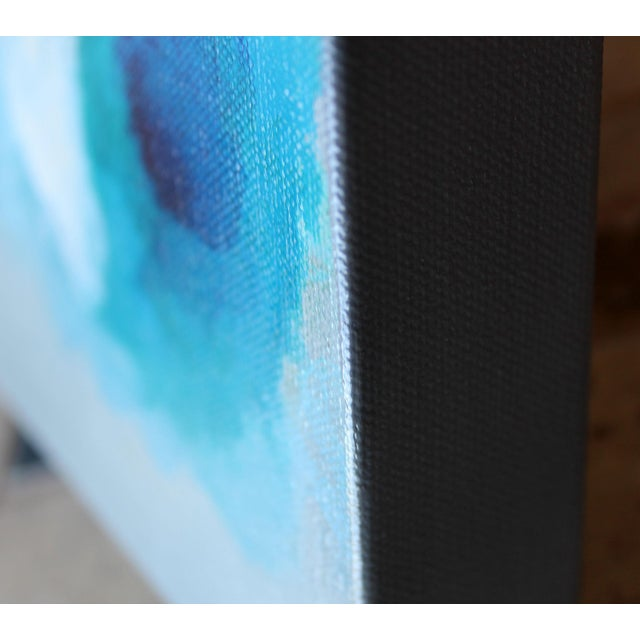 Bella Blue Expressive Modern Abstract Art Painting - Image 3 of 4