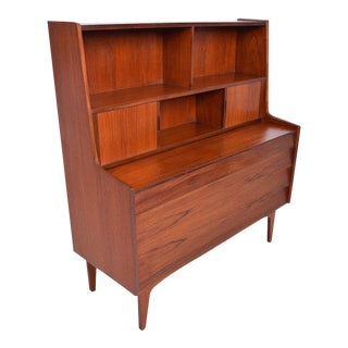 Danish Mid-Century Modern Teak Secretary Desk / Vanity Hjerm Mobelfabrik For Sale