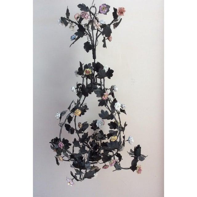 Tole & Porcelain Flower Candle Chandelier - Image 2 of 10