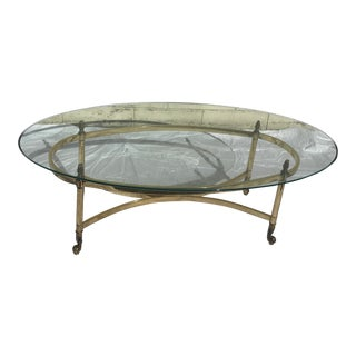 Vintage Brass and Beveled Glass Coffee Table For Sale