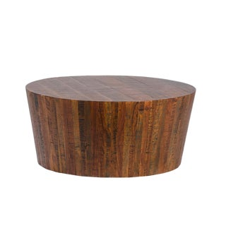 Reclaimed Wood Block Coffee Table For Sale