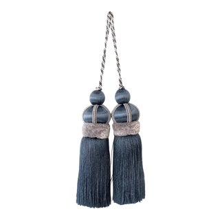 Blue Kay Tassels With Cut Velvet Ruche - a Pair For Sale