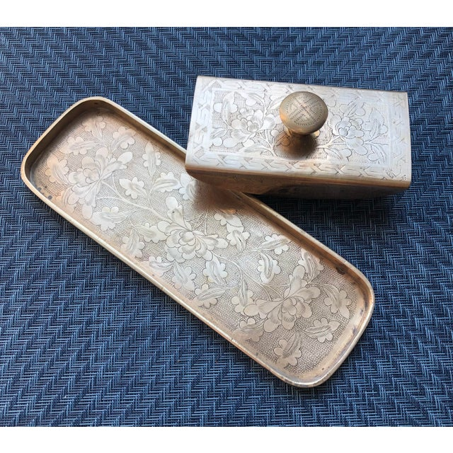 Vintage Late 20th Century Brass & Wood Ink Rocker / Blotter and Pen Tray - 2 Piece Set For Sale - Image 4 of 6