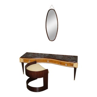 1940s Mid-Century Modern Vanity Mirror and Seat Set - 3 Pieces For Sale