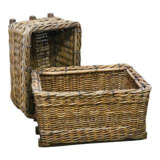 Circa 1920 Vintage Belgian Wicker Baskets - A Pair For Sale