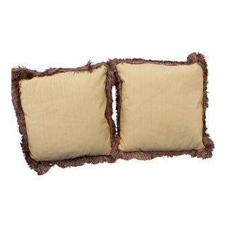 Late 20th C. Pr. Raw Silk Pillows For Sale
