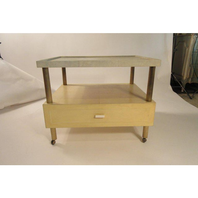 1980s Contemporary Garrison Rousseau Custom Shagreen and Parchment Side Table For Sale - Image 10 of 13