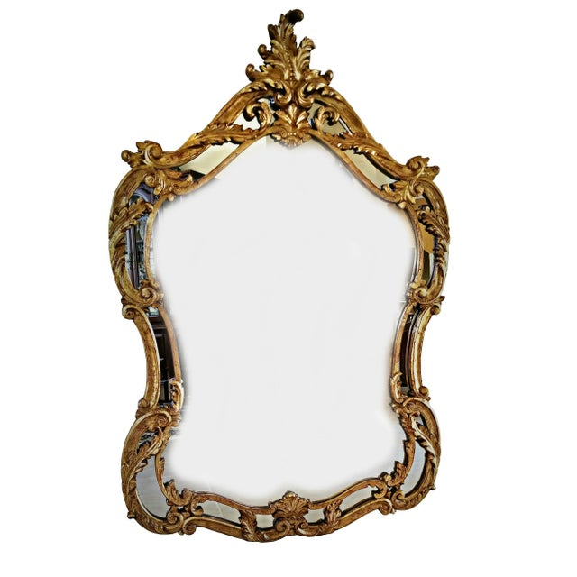 Italian Baroque Style Carved Giltwood Mirror, Mid-19th Century For Sale - Image 11 of 11