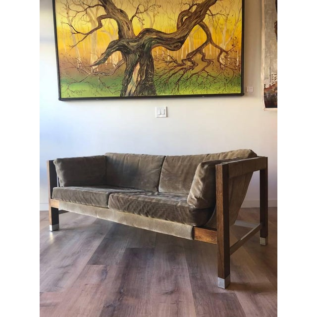 Brown 1970s Jack Cartwright Sling Loveseat in Original Suede Upholstery For Sale - Image 8 of 10