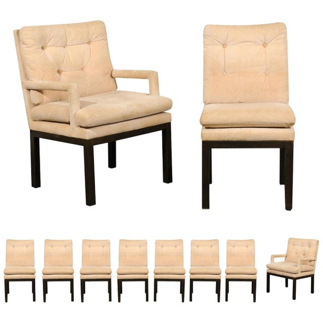 Sophisticated Set of 10 Brass Parsons Dining Chairs by John Stuart, Circa 1968 For Sale - Image 13 of 13