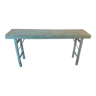 Shabby Chic Anthropologie Blue Media Console For Sale