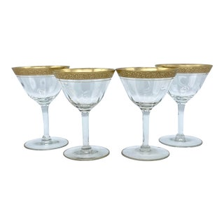 Mid-Century Tiffin Gold Rim Champagne Glasses Set of 4 For Sale