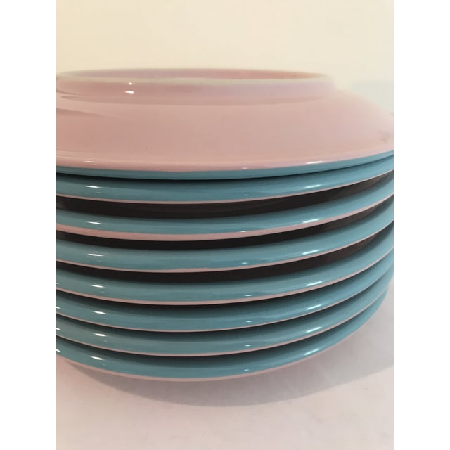 Century Stoneware Rio Pink & Turquoise Salad Plate - Set of 6 For Sale - Image 4 of 6