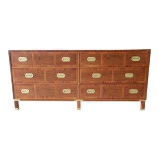 Baker Furniture Milling Road Campaign Style Long Dresser or Credenza For Sale