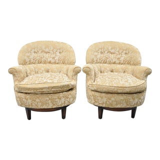 Edward Wormley Style Upholstered Swivel Barrel Back Club Lounge Chairs - a Pair