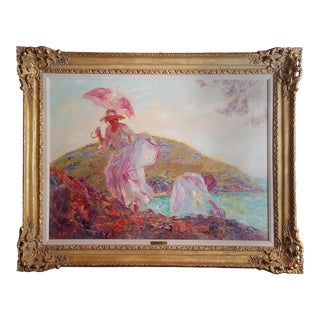 """1960s """"Woman with Dog"""" Figurative Landscape Oil Painting by Beltran Bofill, Framed For Sale"""