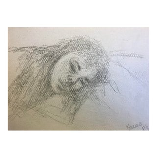 1980s Vintage Sleeping Girl Drawing by Inga-Brita Mills For Sale