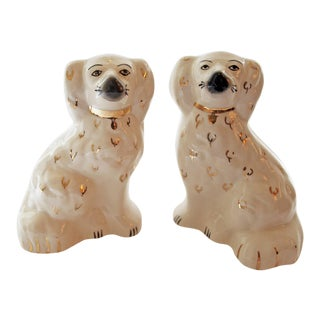 Vintage White Glazed Ceramic Foo Dogs With Gold Accents - a Pair For Sale
