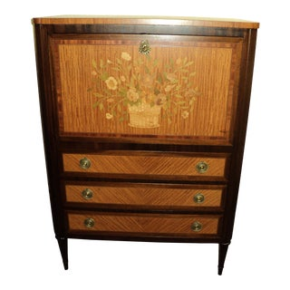 Antique John Widdicomb French Style Marquetry Chest/Drop Front Desk For Sale