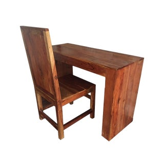 Solid Acacia Wood Desk & Chair For Sale