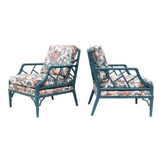 Faux Bamboo Chinese Chippendale Lounge Chairs For Sale