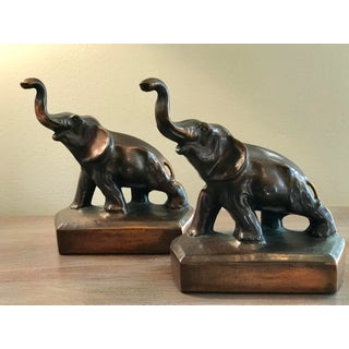 Vintage Elephant Copper Finish Bookends - a Pair Preview