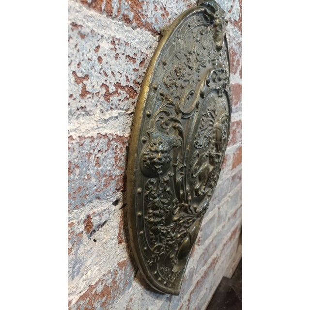 Vintage Mythological Bronze Wall Plaque Shields - A Pair For Sale - Image 9 of 9
