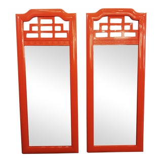 Lacquered Henry Link Mandarin Mirrors - A Pair