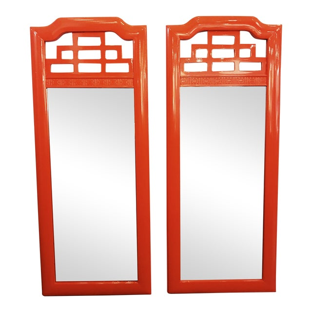 Lacquered Henry Link Mandarin Mirrors - A Pair - Image 1 of 4