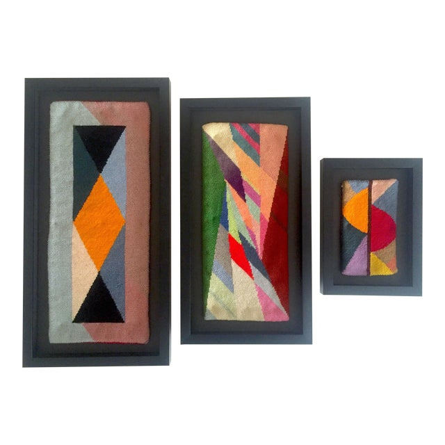 Mid Century Modernist Abstract Custom Framed Needlepoint Textile Art Set Of 3