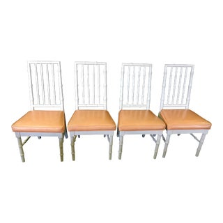 Late 20th Century Faux Bamboo Dining Chairs With Melon Leatherette - Set of 4 For Sale