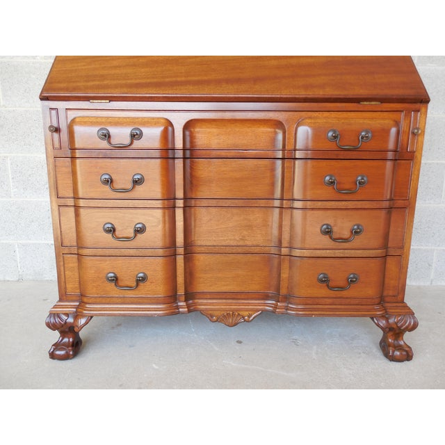 Ball Claw Foot Secretary Desk 94 H For High Quality Construction 4 Dovetailed Drawers Cathedral Style Individual Glass Doors Carved Accented