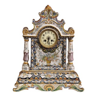 19th Century French Hand-Painted Ceramic Mantel Clock From Rouen