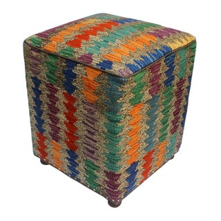 Arshs Criselda Drk. Gray/Blue Kilim Upholstered Handmade Ottoman For Sale