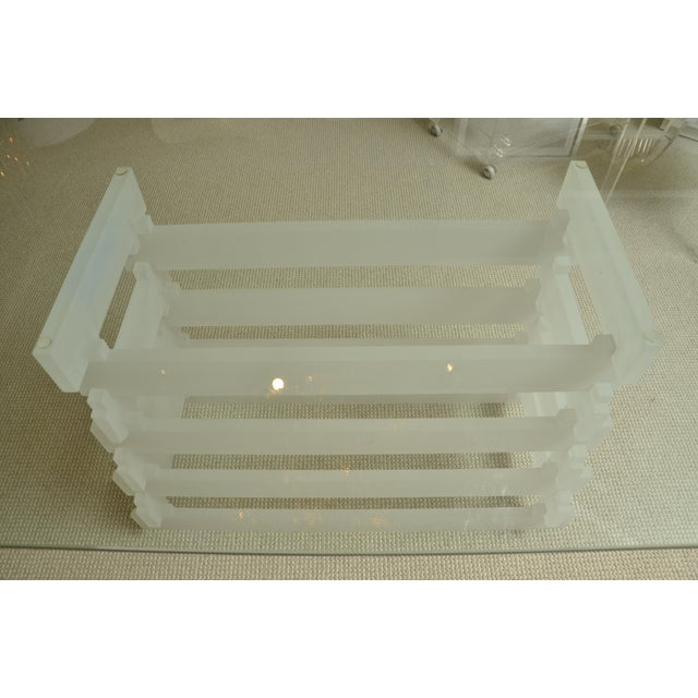 Mid-Century Modern Mid-Century With Frosted Lucite Lattice Base For Sale - Image 3 of 6