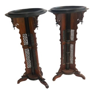 Filigree Wood Inlaid Pedestals - a Pair For Sale