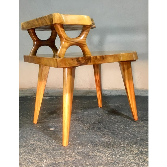 Wood 1960s Organic Modern Solid Slab Koa Wood 2-Tiered End Table For Sale - Image 7 of 12