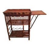 Image of Hollywood Regency Faux Bamboo Rattan Tortoise Shell Bar Cart For Sale