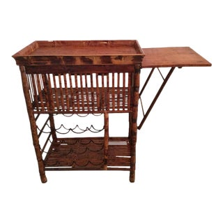 Hollywood Regency Faux Bamboo Rattan Tortoise Shell Bar Cart For Sale