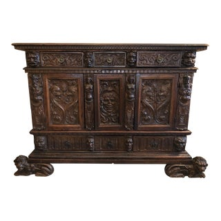19th Century Renaissance Revival Hand Carved Cabinet For Sale