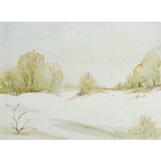 Pale Winter Landscape Watercolor Painting For Sale