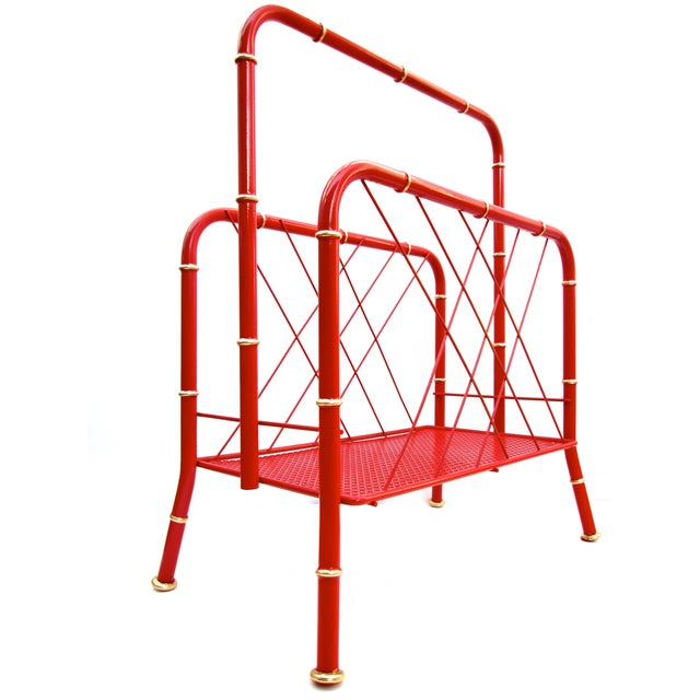 Vintage Red & Gold Faux Bamboo Magazine Rack For Sale - Image 4 of 6