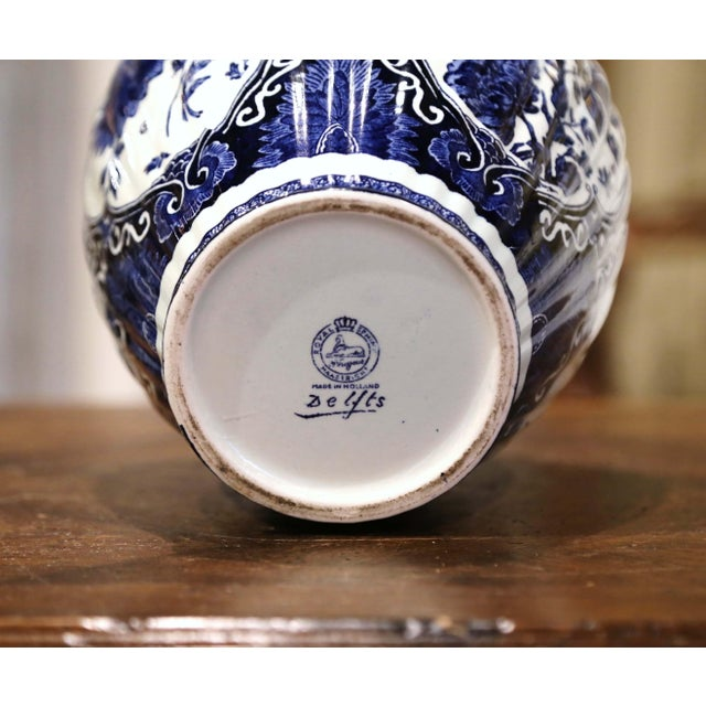Mid-Century Dutch Faience Blue and White Painted Delft Ginger Jar With Lid For Sale - Image 9 of 10