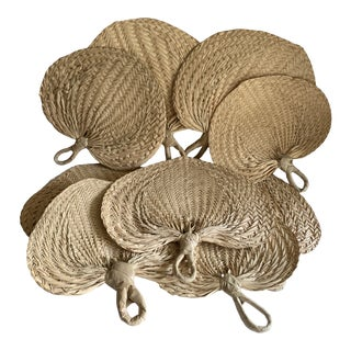 Natural Sea Grass Tiki Hand Fans, Set of Nine For Sale