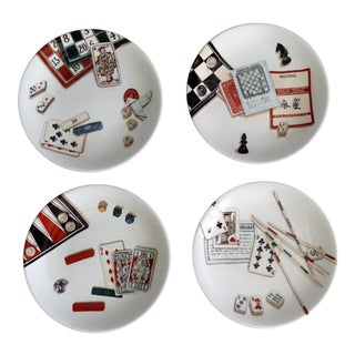 French Jeux Games Canape Plates - Set of 4