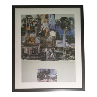"Robert Rauschenberg ""Catfish Tales"" Large Framed Collage Poster For Sale"