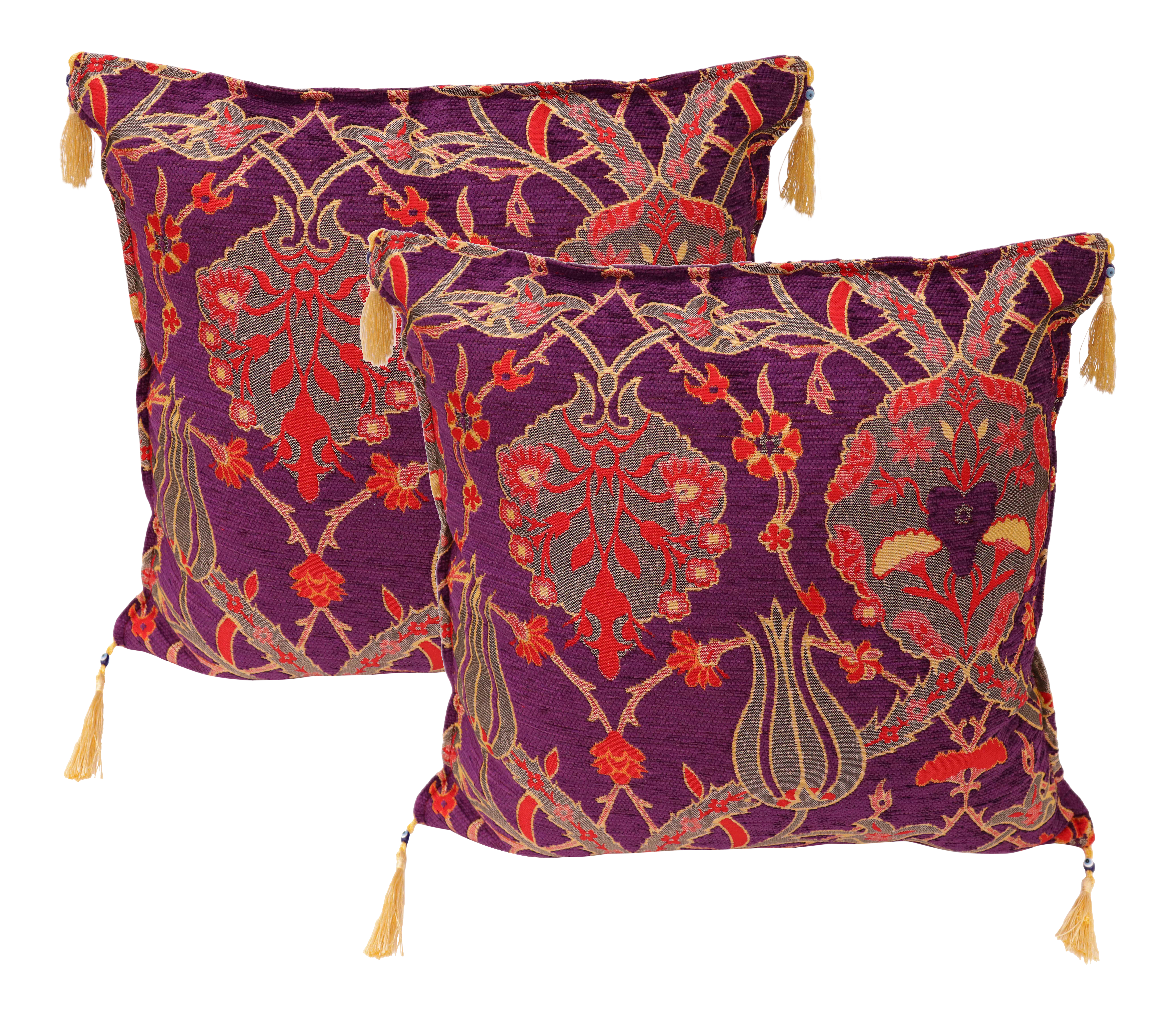 Boho Chic Turkish Tulip Chenille Purple Red Decorative Cushion Pillows - a Pair For Sale