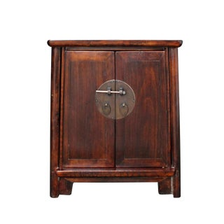 Chinese Ming Style Republic China Brown Simple End Table Nightstand For Sale