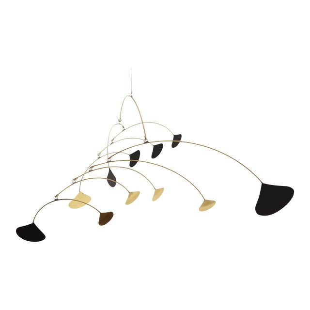 Vintage Brass & Black Metal Abstract Mobile - Image 1 of 6